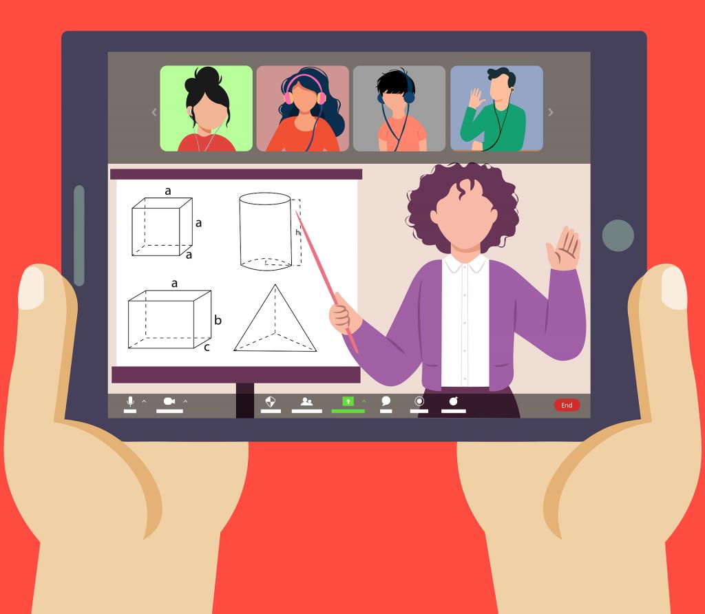 Онлайн преподавател, даващ урок на 4-ма ученици