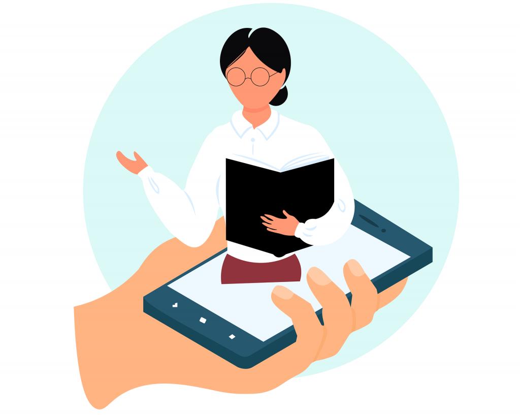 Онлайн учител, даващ уроци през мобилен телефон