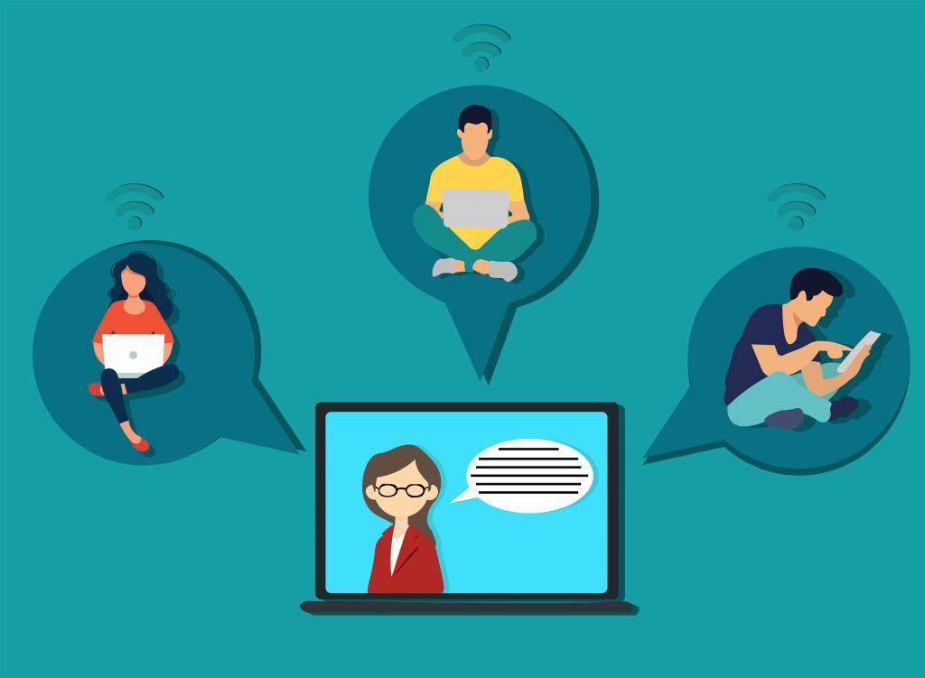 Онлайн преподавател по време на онлайн урок